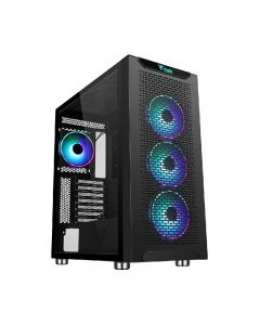 Case ITEK MAJES 40 - Gaming Full Tower, 4x12cm ARGB fan, 2xUSB3, Side Panel Temp Glass