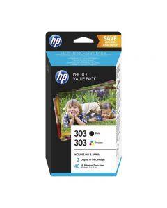 CARTUCCIA ORIGINALE HP Z4B62EE 303 MULTIPACK BK + COLOR + 40 fogli foto 10x15