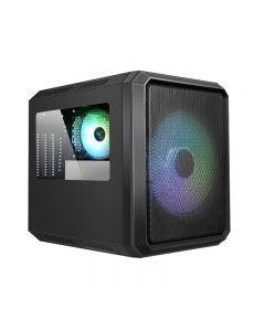 CASE ITEK QBO 8 EVO - Micro ATX, USB3, 200+120mm ARGB fan, Card Reader, 3x Trasp Window