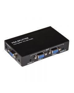 SPLITTER LINK 2 PT VGA - AMPLIFICATO 500 MHz CON AUDIO