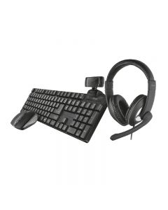 TRUST Home Office Set Qoby 4-in-1 TASTIERA+MOUSE+WEBCAM+CUFFIE